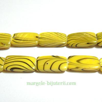 Perle sidef, plate, dreptunghiulare, galbene-negru, 14x8x3mm 1 buc