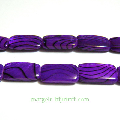 Perle sidef, plate, dreptunghiulare, violet, 14x8x3mm