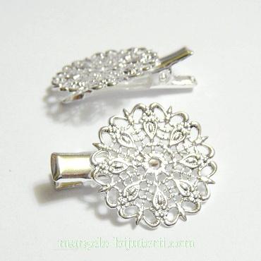 Clama prindere par, argintie, 30mm, platou filigran 25mm 1 buc