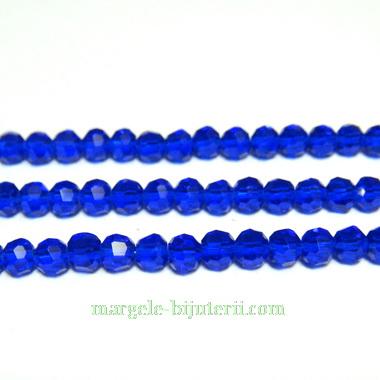 Margele sticla multifete albastre, 3mm 10 buc