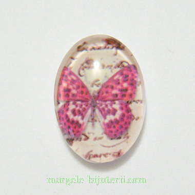 Cabochon oval din sticla, fluturas fucsia, 18x13x6mm 1 buc