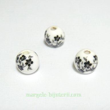 Margele portelan, albe cu flori negre, 8mm 1 buc