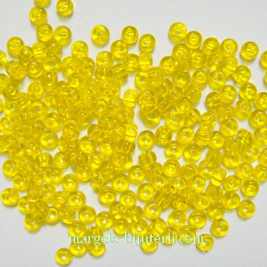Margele nisip, Rocaille Preciosa 11/0-2mm, galbene, transparente 20 g