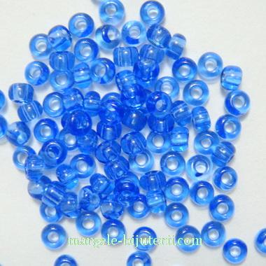 Margele nisip, Rocaille Preciosa 6/0-4mm, albastru deschis, transparente 20 g