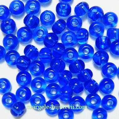 Margele nisip, Rocaille Preciosa 6/0-4mm, albastre, transparente 20 g