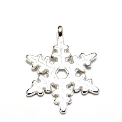 Pandantiv argintiu, fulg de nea, 24x21x1.5mm 1 buc