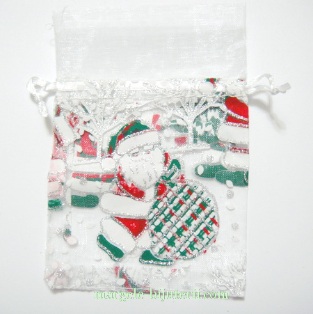 Saculet organza alb cu desen Craciun, interior 8.5x8.5mm 1 buc