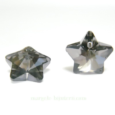 Pandantiv sticla, gri, placat pe verso cu argintiu, stea 14x14x8mm 1 buc