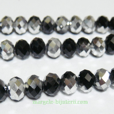 Margele sticla, negre, electroplacate, 6x4mm