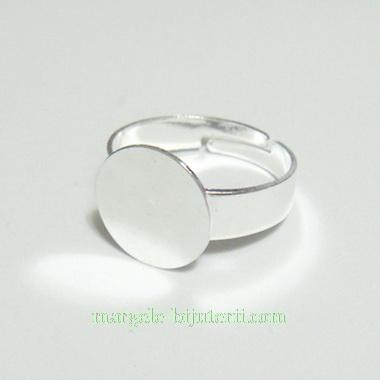 Baza inel, argintie, diametru 18mm, reglabila, platou 12mm 1 buc