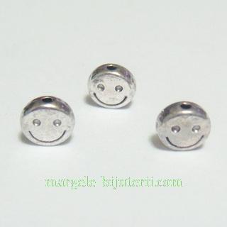 Margele tibetane, argintiu antic, smile, 6x3mm 1 buc