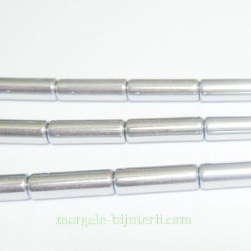Hematite nemagnetice, placate argintii, tub 14x4mm 1 buc