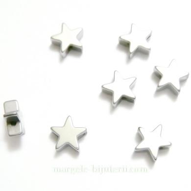 Hematite nemagnetice, placate argintii, stea 6.5x6.5x2.5mm 1 buc