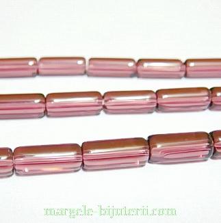 Margele sticla, mov, tub, 10x4mm 1 buc