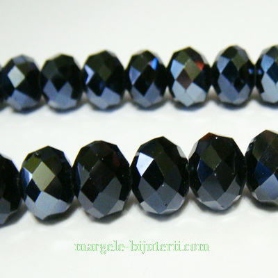 Margele sticla, multifete, rondel, negre hematit, 12x8mm 1 buc