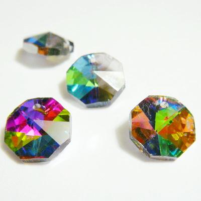 Pandantiv sticla, multifete, electroplacat, multicolor, octagon, 12x7mm 1 buc