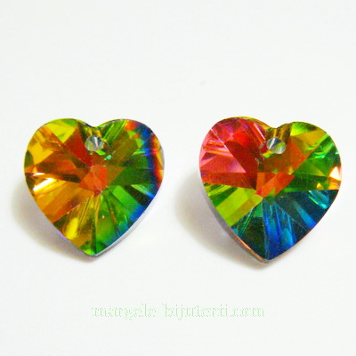 Pandantiv sticla, electroplacat, multicolor, inima 14x14x8mm 1 buc