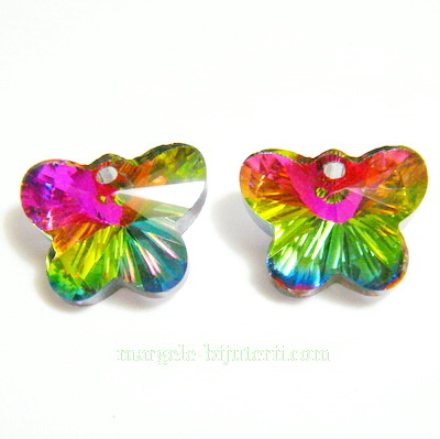 Pandantiv sticla, multifete, multicolor, fluturas 15x12x7mm 1 buc
