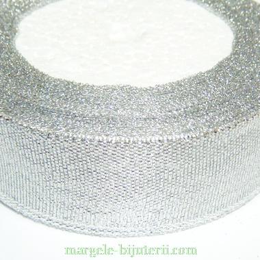 Panglica lurex argintie, 25mm 1 rola 22 m