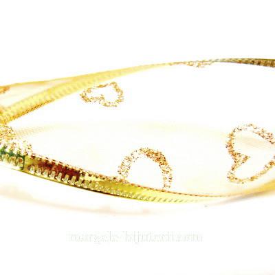 Panglica  ribbon portocalie cu lurex auriu, latime 4cm, rola 2.7 metri 1 buc