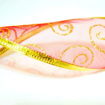 Panglica  ribbon rosie cu lurex auriu, latime 4cm, rola 2.7 metri 1 buc