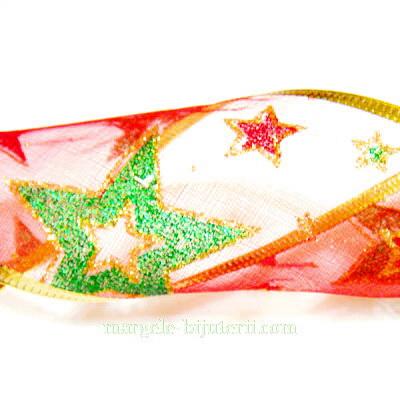 Panglica  ribbon rosie cu lurex auriu, latime 6cm, rola 2.7 metri 1 buc