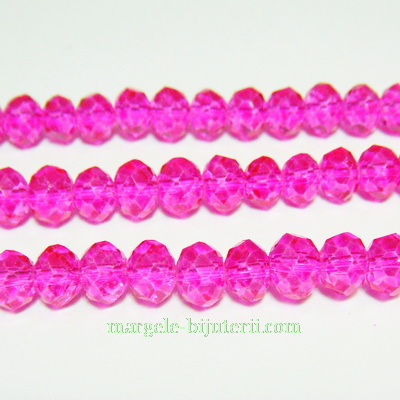 Margele sticla, multifete, fucsia, 6x5mm