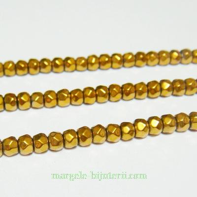 Margele hematite, aurii, multifete, 3.5x2.5mm 1 buc