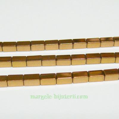 Hematite nemagnetice, maro-auriu, placate, dreptunghi 4x2.3mm 1 buc