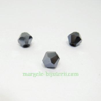 Cristal biconic fatelat negru 9mm 1 buc
