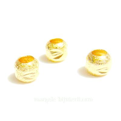 Margele stardust, aurii, 6mm, orificiu 3mm 1 buc