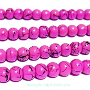 Margele sticla, roz inchis cu liniute negre, 4mm 10 buc