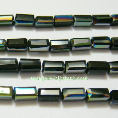 Margele sticla, verzi, electoplacate, 7x3x3mm 1 buc