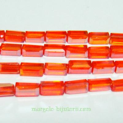 Margele sticla, rosii AB, 7x7x3mm 1 buc