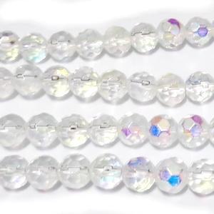 Margele sticla, multifete, transparente AB, 6mm 10 buc