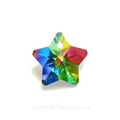 Pandantiv sticla, multifete, multicolor, stea 15x13x8mm 1 buc