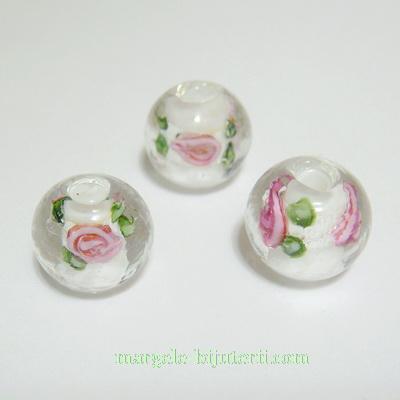 Margele sticla, lampwork, albe cu floricele roz, 12mm 1 buc