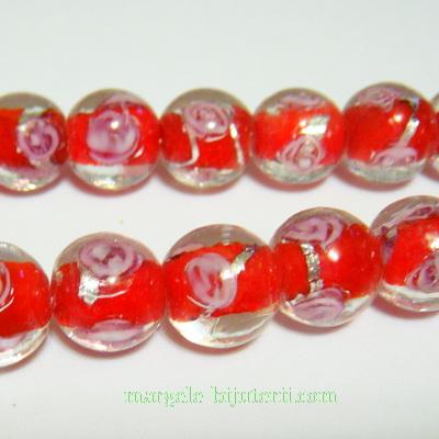 Margele sticla, lampwork, rosii cu floricele roz, 10mm 1 buc