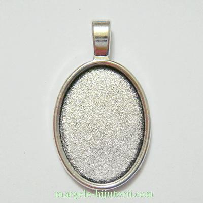 Baza cabochon, argint tibetan, pandantiv 37x21mm, interior 24x18mm 1 buc