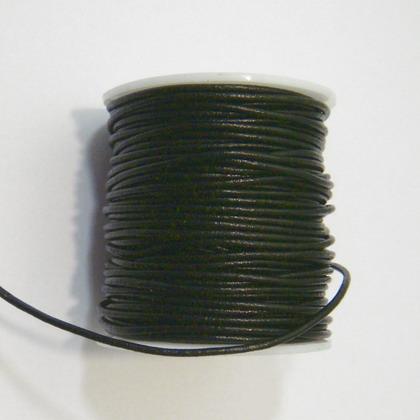 Snur piele naturala, negru,  2mm 1 m
