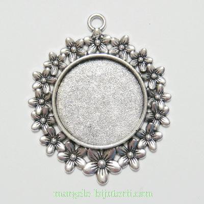 Baza cabochon, argint tibetan, pandantiv, 52x42mm, interior 25mm 1 buc