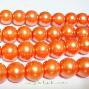 Perle sticla, portocaliu inchis, 10mm 10 buc