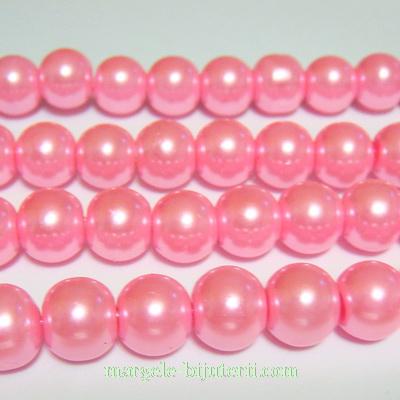 Perle sticla, roz, 10mm 10 buc