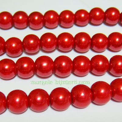 Perle sticla, rosii, 10mm 10 buc