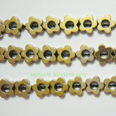 Hematite nemagnetice, vopsite aurii, floricele 6x2mm 1 buc