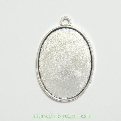 Baza cabochon, argint tibetan, pandantiv, 28x19x1.6mm, interior 23x17mm 1 buc