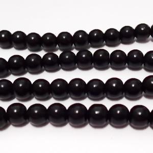 Margele sticla negre, 6mm 10 buc
