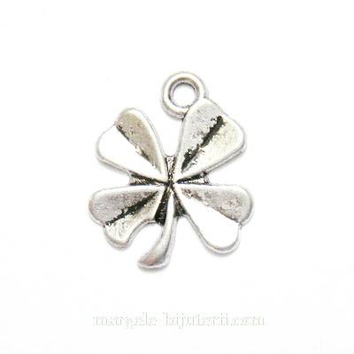 Pandantiv argint tibetan, trifoi cu 4 foi, 16x14x1.5mm 1 buc