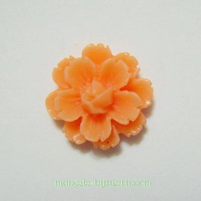 Cabochon rasina, flori roz-somon, 13x7mm 1 buc
